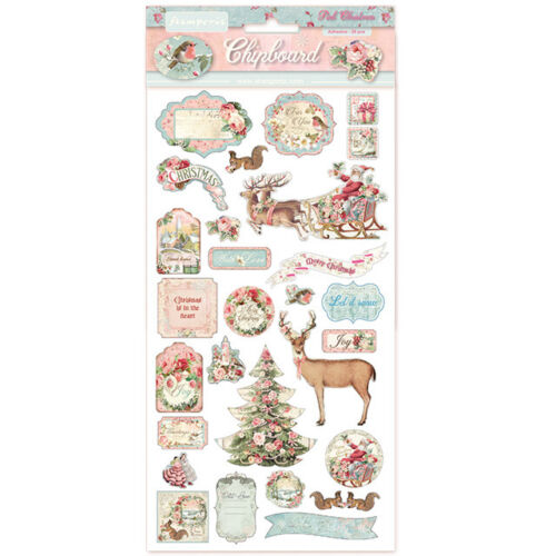 """Stamperia PINK CHRISTMAS Chipboard 6X12"""" 29 Pieces #DFLCB06"""