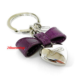 NEW COACH PURPLE BOW SILVER HEART CHARM KEY RING FOB CHAIN KEYRING 65740