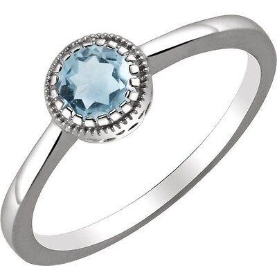 Genuine Round Aquamarine Solitaire Ring (Genuine Aquamarine 5 mm Round Gemstone Solitaire Ring in 14K.  White Solid Gold  )