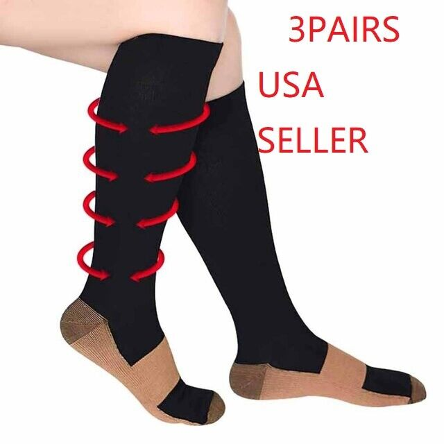 (3 Pairs) Compression Socks Hg Knee High Copper  Mens / Womens S-XXL USA Health & Beauty