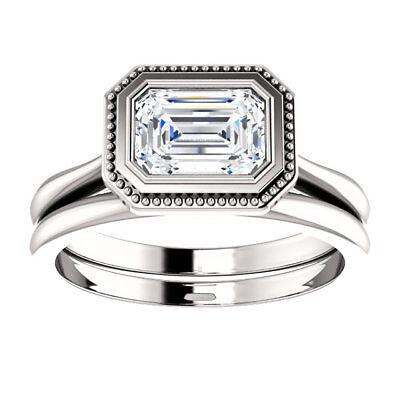 1.02 carat GIA cert Emerald cut Diamond Solitaire Engagement 14k Gold Ring J SI2 3