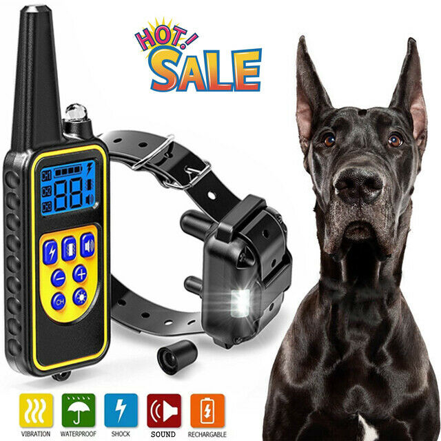 Dog Shock Training Collar Electric With Remote Rechargeable Waterproof 875 Yards