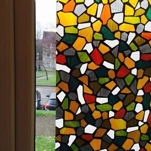 Graceful style frosted static stained glass decorative for Decoration fenetre statique