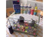Medium sized glass fish tank with loads of accessories and filter