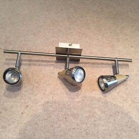 Four 3 Spotlight Ceiling Bar Light Fitting Finish Satin/Wood Effect