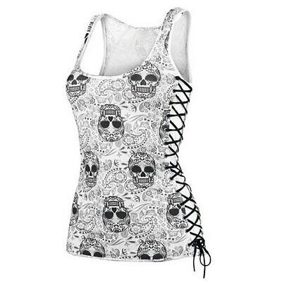 Design Womens Black T-shirt - Women Tank Skull Head Design Top Sleeveless Black White T Shirt Singlet Camisole