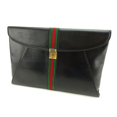 Auth GUCCI Document Case Sherry unisexused J10172