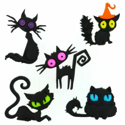 Jesse James Buttons - Dress It Up  ~ CREEPED OUT CATS  ~ Halloween Cats