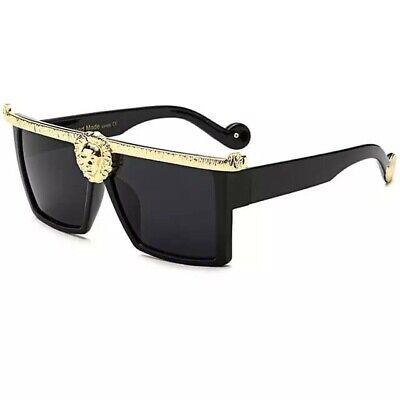 Ladies Men Faux Versace Logo Frame Black Designer Branded Luxury Sunglasses
