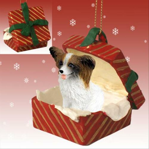 Papillon Brown White Dog RED Gift Box Holiday Christmas ORNAMENT