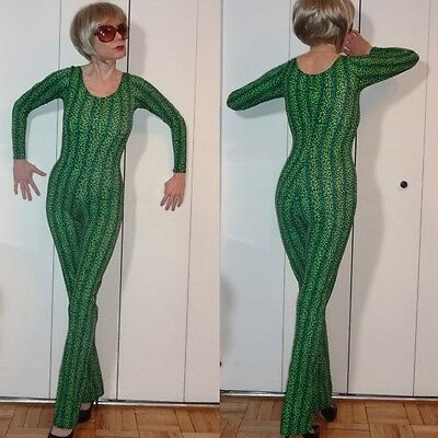 IRISH GREEN STRETCH  BLACK & GREEN UNITARD BODYSUIT JUMPSUIT CATSUIT OUTFIT S XS