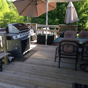 Backyard deck decks new wooden railing repair