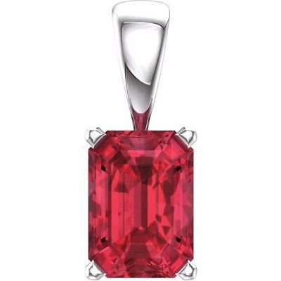 Chatham Ruby Pendant in 14kt White Gold Scoll Setting, July Birthstone - Gold Chatham Ruby Pendant