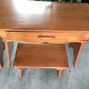 Wooden Desk and Stool