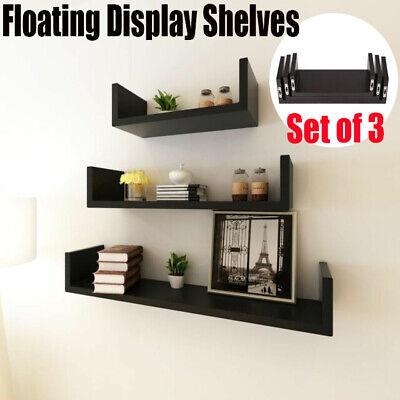 - Set of 3 Floating Shelves Bookshelf Wall Mount Shelf Display Home Decor Black