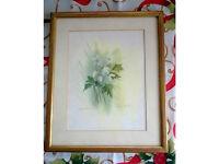 framed original flower watercolor a1