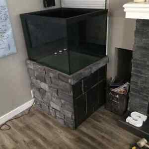 85 gallon custom corner tank, drilled and stand