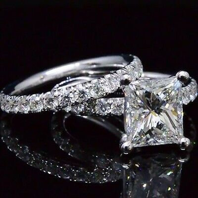 4.10 ct. Natural Princess Cut Pave Engagement Set - GIA Certified & Appraised