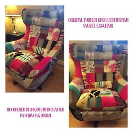 vintage retro Parker Knoll Statesman swivel egg chair in unique new patchwork