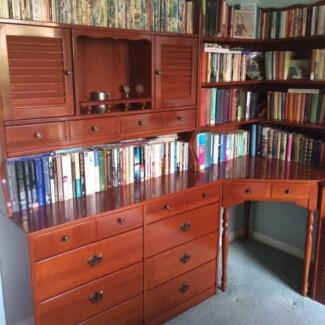 Polished maple bookcase, corner desk, cupboard and chair unit Beaumaris Bayside Area Preview