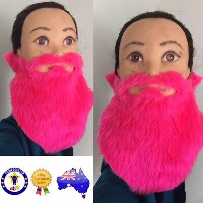 FAKE FALSE BEARD MOE MOUSTACHE SIDEBURNS HEN PARTY HOT PINK COSTUME DRESS UP - Fake Sideburns
