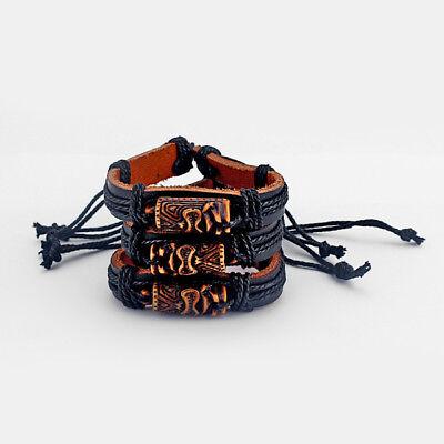 (Wholesale 12pcs Black Leather Hemp Cord Brown Tiki Man Charm Bracelets Bangle)