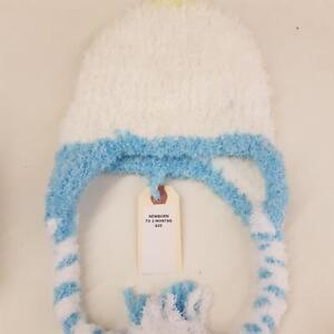NEWBORN TO 3 MONTHS YELLOW BLUE AND WHITE HAT