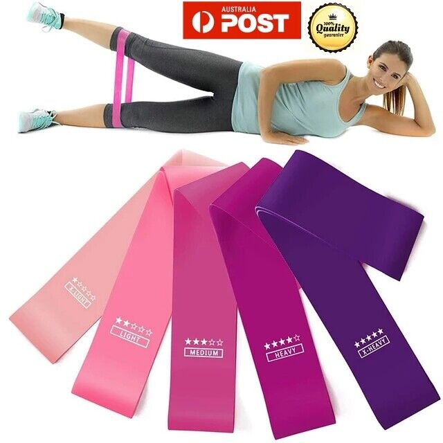 1/5p Resistance Bands Power Heavy Duty Exercise Home Gym Yoga Fitness Loop booty