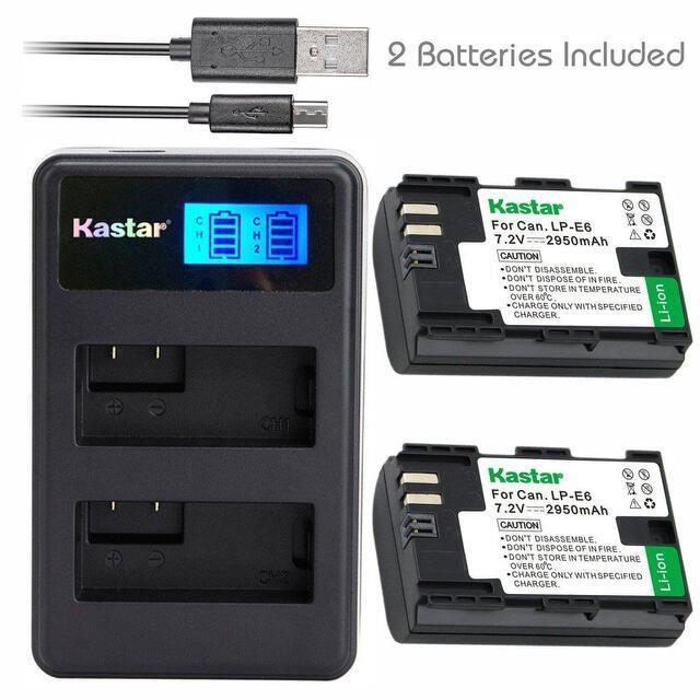 Kastar Lpe6 Battery&lcd Dual Charger For Canon Eos 6d,7d,...