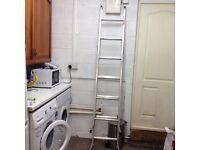 Extendable step ladder in lightweight metal
