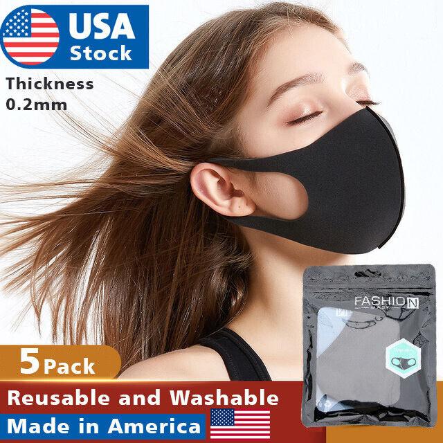 5pack Polyurethane Face Mask Black Washable Reusable Breathable Unisex Masks Accessories