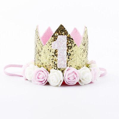 Geburtstagskrone 1. Erster Geburtstag Krone rosa gold Blume Glitzer Mädchen Baby ()