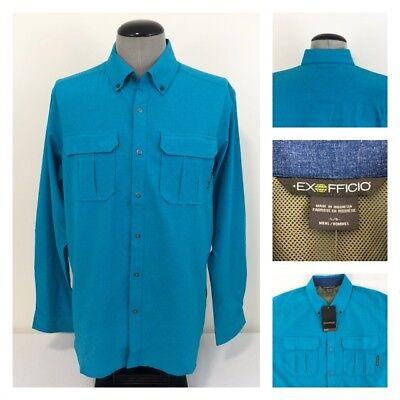 NWT ExOfficio Mens L Air Space Snap Button Blue Wicking Vented Travel Shirt $90 ()