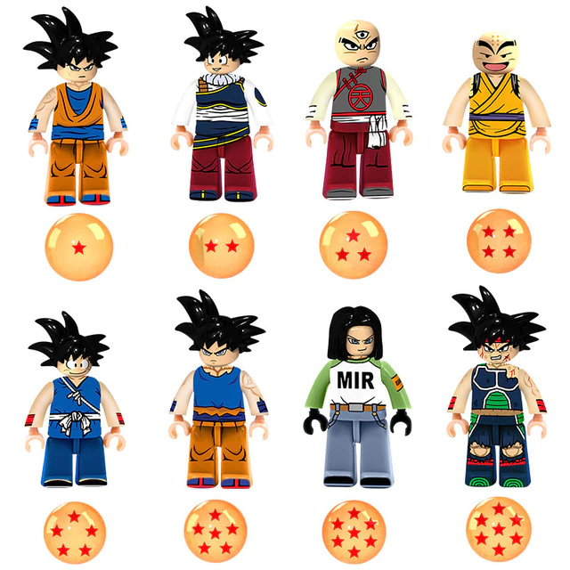 Count:8 figures B:24pcs Dragon Ball Z Action For Lego Figure Super Goku Building Block Toy Heroes