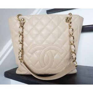 Authentic Chanel PST bag beige caviar leather