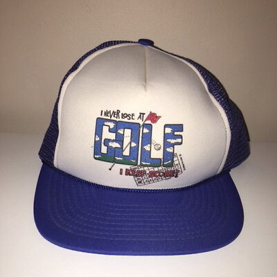 VTG Never Lose At Golf Funny Trucker Snapback Hat One Size Fits All (Funny Golf Hat)