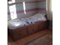 Single Solid Pine Bed with Storage and Mattress