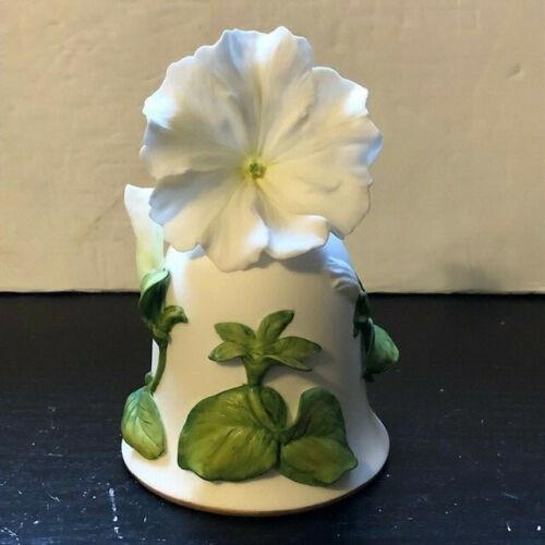 "Franklin Mint Porcelain Bell ""White Cascade Petunia"" By Jeanne Holgate HP 1983"