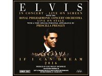 2 Tickets for ELVIS WITH THE ROYAL PHILHARMONIC ORCHESTRA Live on Stage Glasgow Hydro November 17th