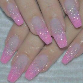 Gel nails extension and party lash both £25 Glitter nails £15