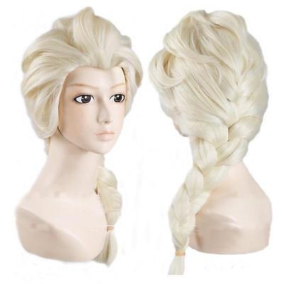 Beautiful Elsa Costume (Blonde Wig Elsa Fancy Dress Costume Princess Frozen Beautiful Snow Queen)