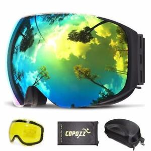 COPOZZ Magnetic Ski Goggles + Free Night Yellow Quick-change Lens  Free Goggle Bag+ ( We pay shipping !)