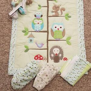 Price drop! EUC WOODLAND ANIMALS CRIB BEDDING SET