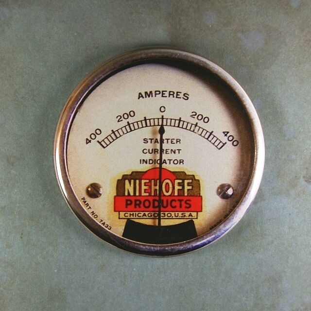 """Vintage Amp Gauge Fridge Magnet 2 1/4"""" Niehoff Starter Current Indicator Chicago"""