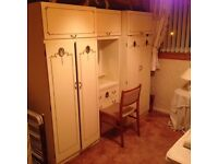Reproduction Louie XV Cream Fitted Wardrobes with Dressing Rable & Drawers