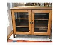 Ikea Leksvik Pine Glass TV Cabinet