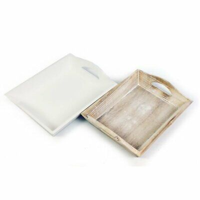 Small Wooden Tray (Shabby Chic Vintage Wooden Rustic Small Tray Serving Plant Candle White)