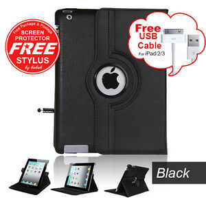 Leather 360 Rotating Case With Sleep Wake For iPad 4 & 3 & 2 + Screen Protector