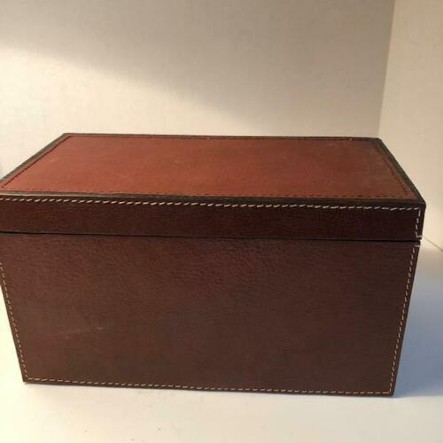 LEATHER CD CASE WITH LID TOP STITCHING CLASSIC