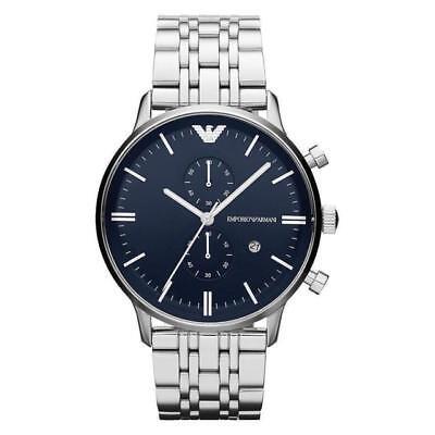 Emporio Armani AR1648 Chronograph Silver Band Dark Blue Dial Men's Wrist Watch